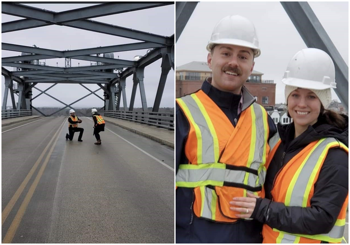Ingenieros se comprometieron en el puente que construyeron juntos