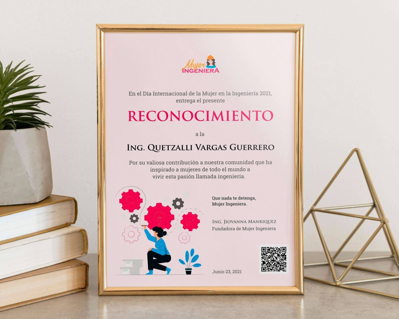 Reconocimiento Ing. Quetzalli